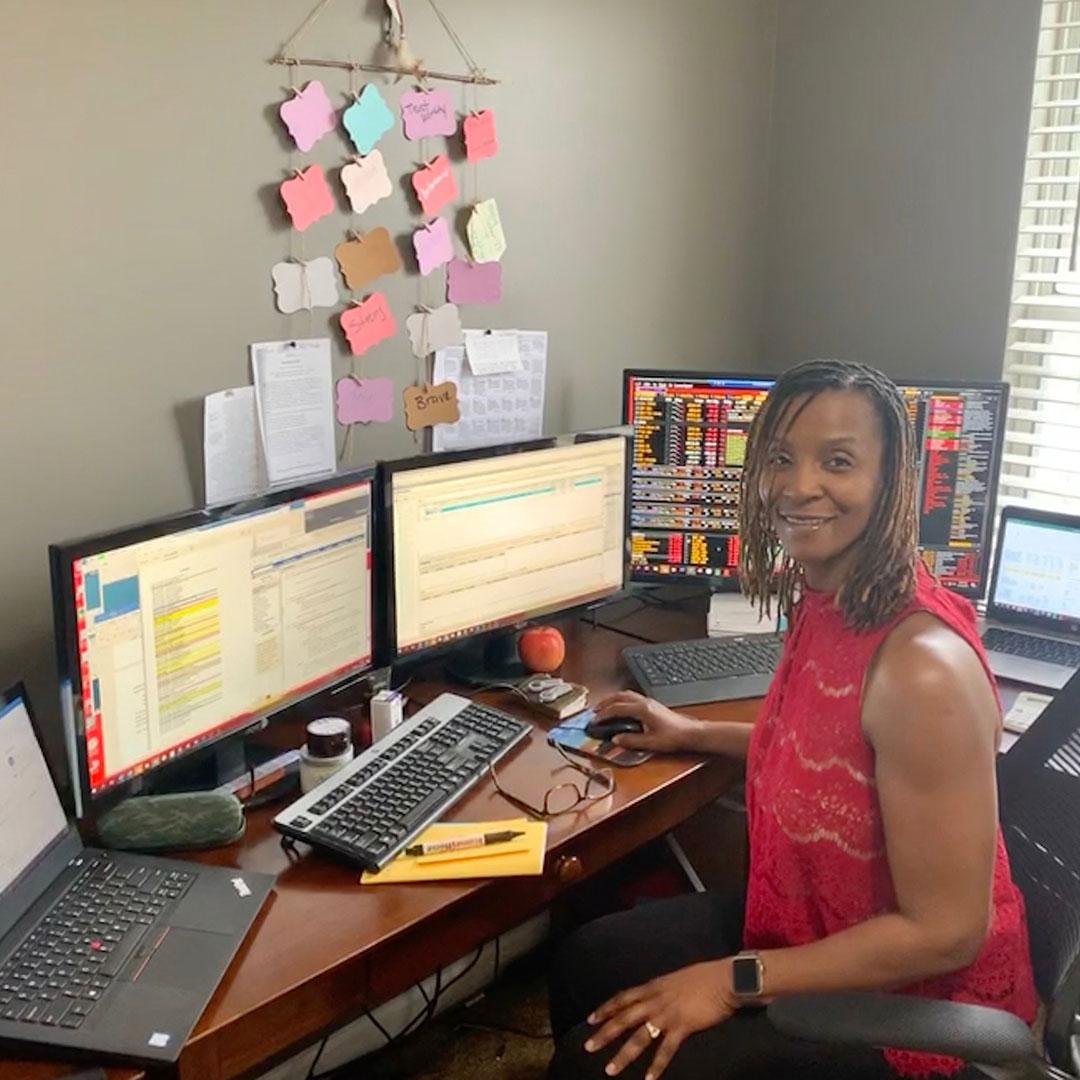 Frances Boatwright at her desk